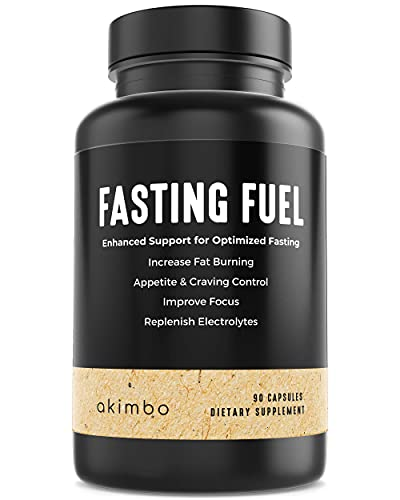 Akimbo Fasting Fuel - All-in-One Intermittent Fasting & Dieting Support, Keto, Paleo, Vegan, Appetite Suppressant, Electrolyte, L-Carnitine, ALA, Green Tea Extract, Moringa Capsules - 90 Capsules