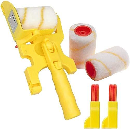 Pincel de rodillo de pintura, ribete de pintura, desmontable, con 2 rodillos y 2 cepillos pequeños, para paredes interiores, techos y esquinas