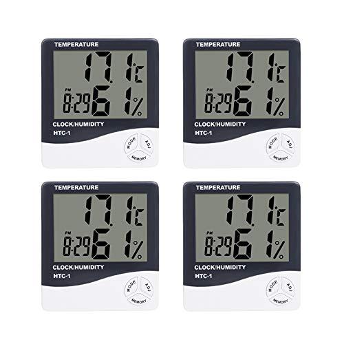Tickos Thermometer Hygrometer Wecker Kalender Uhr, LCD Bildschirm HTC-1, Faltbare Halterung, Aufhängbar (4)