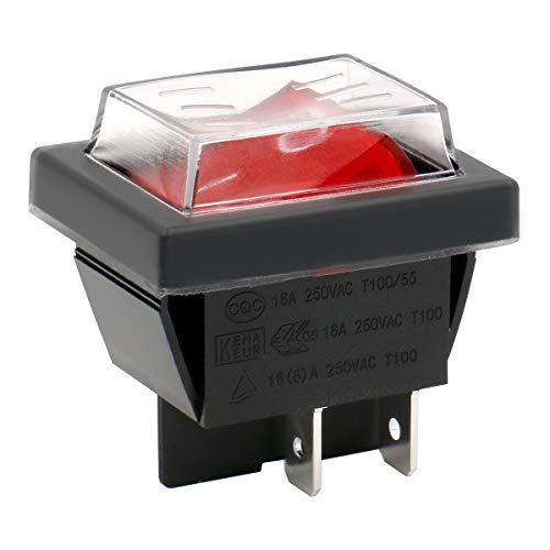 Heschen Ein-Aus-Kippschalter, DPDT, 4Pole, 16A, 250V (AC), rot leuchtend, mit wasserfester Abdeckung