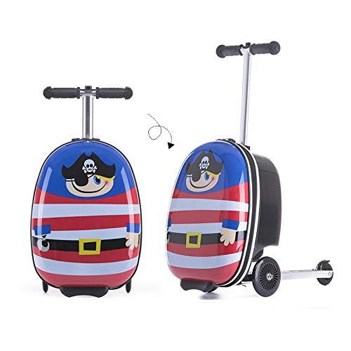 Hokaime Equipaje de Scooter para niños Maleta de Trolley para niños Equipaje de Scooter Plegable...