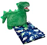 Amazon Basics Kids Bedding Nap Set with Dinosaur Pillow and Fleece Throw Blanket