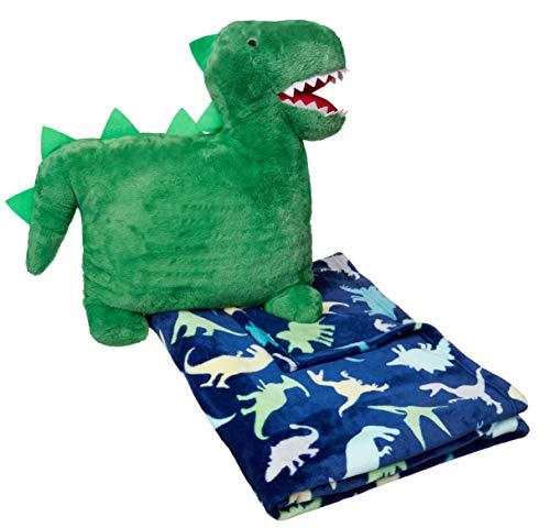 AmazonBasics Kids Bedding Nap Set with Dinosaur Pillow and Fleece Throw Blanket