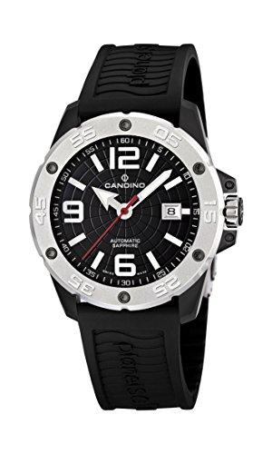 Candino Herren Datum klassisch Automatik Uhr mit Gummi Armband C4474/2