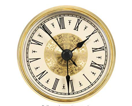 FZC-YM Reloj de 90 mm con números Romanos y Detalles Dorados, Reloj de Mosaico de Estilo Europeo, Movimiento de Cuarzo -