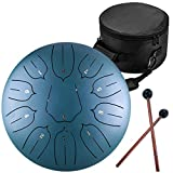 Lomuty 12 Inches Steel Tongue Drum - 11 Notes 12 inches - Percussion Instrument -Handpan Drum with Bag, Music Book, Mallets, Finger Picks