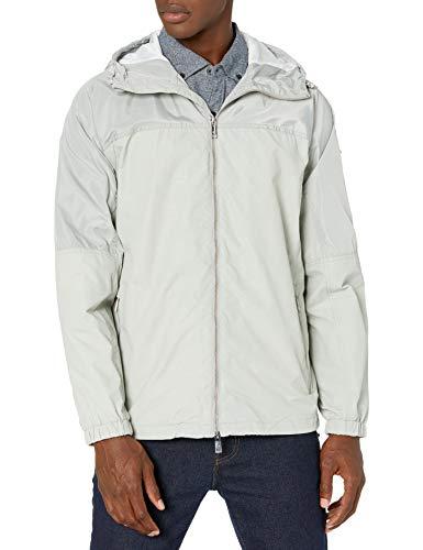 Armani Exchange AX Herren Paisley Zip Up Hooded Jacket Jacke, Hellgrau/Dunkelgrau, Large