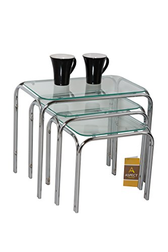 ASPECT Lisbon SETOF 3 Nesting Side END Tables, Chrome, L 46x30x39, M 36.5x30x34, S 31.5x30x29(H) cm