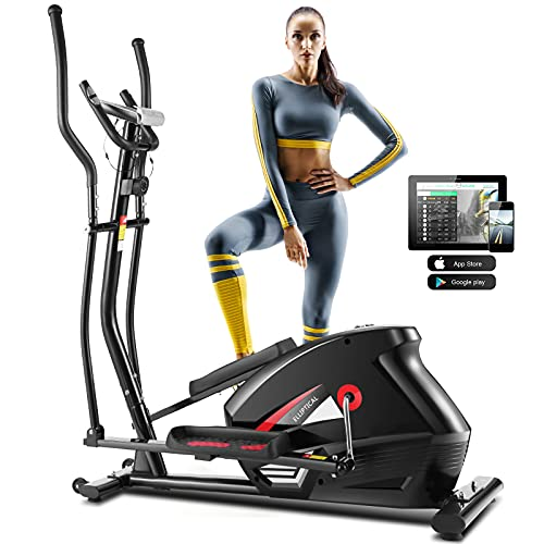 ANCHEER APP Elliptical Machines for Home Use, Cardio Cross Trainer Equipment with 10 Level Magnetic Resistance for Home Fitness Gym Office Workout 390 LBS Weight Limit