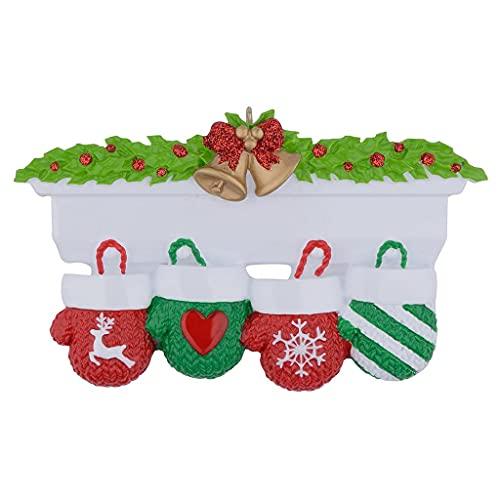 OSELLINE Guantes personalizados Adornos de árbol de Navidad DIY Nombre bendición resina colgantes 4 #