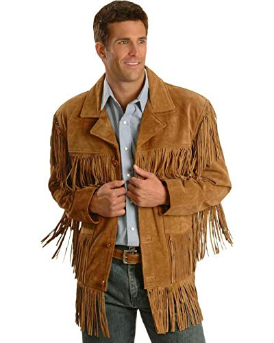 Men's Traditional Cowboy Western Leather Jacket Brown Coat with Fringe Native American Jacket Suede-XL