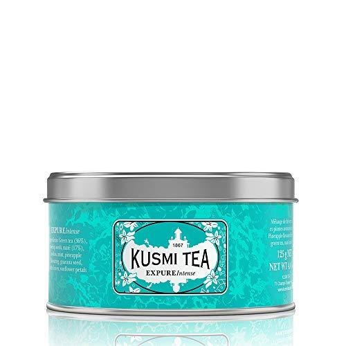 Kusmi Tea – EXPURE Intense – Mischung aus grünem Tee, Mate und Kräutern mit Ananasnoten – kann heiß oder kalt genossen werden – Metalldose mit 125 g