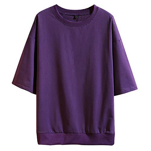 ZZBO Tshirt Herren T Shirt Herren Solide Sommer Tee Kurzarm Round Hals T-Shirt Herren Hemd Herren Hemden Herren Top Oberteile Slim Fit Freizeit Bequem M-5XL(Schwarz,Blau,Dunkelgrau,Lila,Weiß,Grün)