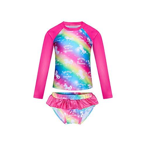 KISSI Mermaid Rash Guard - Bañador para niña, protección UV, 2 piezas, para playa de baño Unicornio 01. 100 cm (3-4 Años)
