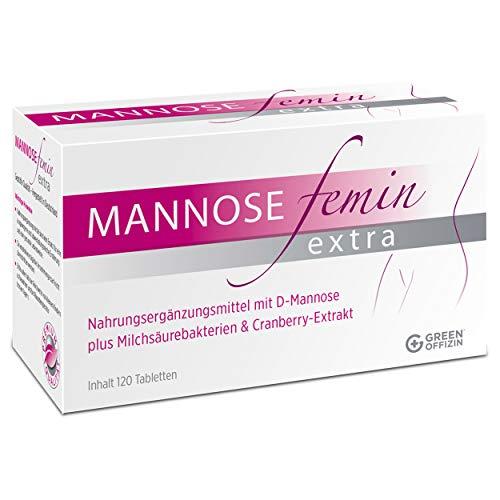 Mannose Femin Extra - Blasenentzündung und Harnwegsinfekte behandeln + vorbeugen I D-Mannose, Milchsäurebakterien & Cranberry Extrakt für Frauen I kein Pulver I 100% natürlich + vegan (120 Tabletten)