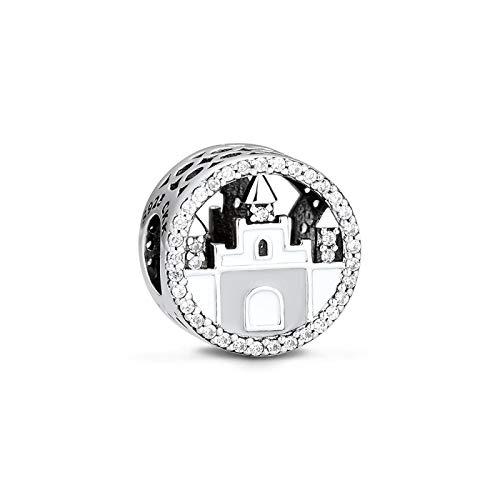 dingtian Pulseras para mujer, diseño de castillo de Cenicienta, 100% 925 de plata de ley original