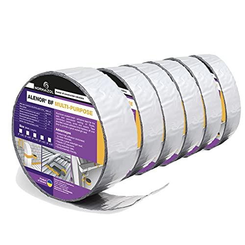 "Alenor Aluminum Waterproof Sealant Butyl Repair Tape 2"" inch x 50 Feet 6 Pack RV Sealing Tape for Roof Leak Indoor Outdoor Use PVC Pipe Repair HVAC Vent Air Conditioner Window Seal Unit Rain Tape"