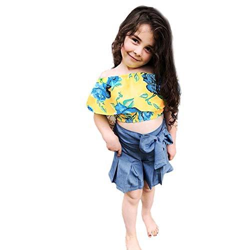 YWLINK Conjunto Bebé NiñAs Un Hombro Top Estampado A Cuadros Camiseta Volante+Pantalones Cortos De Mezclilla Pantalones Cortos Plisados AlgodóN Moda Vestido De Fiesta Playa Regalo De CumpleañOs