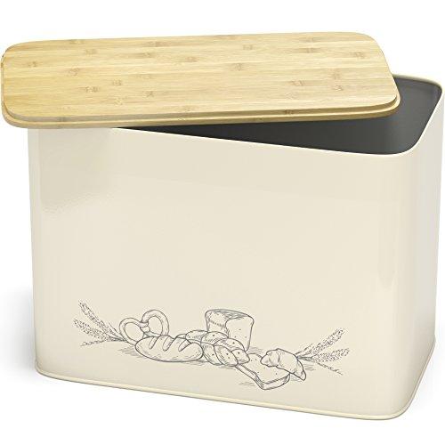 Cooler Kitchen Grande Boîte à Pain en Métal de Style Vintage avec Un Couvercle en Bambou Bio Pouvant Servir de Planche à Découper - Dimensions de la Huche à Pain : 33 cm x 18 cm x 24 cm