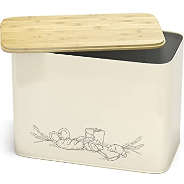 Extra Large Space Saving Vertical Bread Box With Eco Bamboo Cutting Board Lid - Holds 2 Loaves - Cream Extra Large Farmhouse Breadbox Bread Holder By Cooler Kitchen
