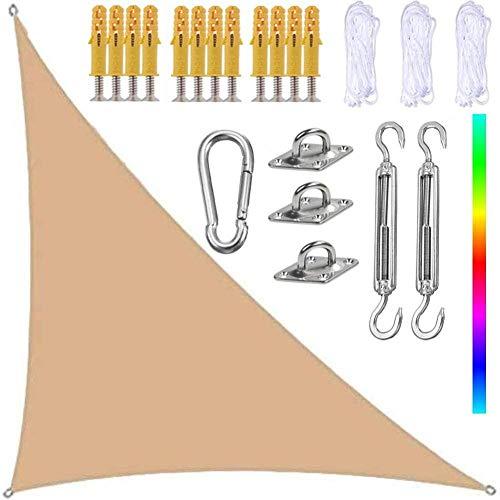 WPHH 4X4X5.7M Sombra de Lona Impermeable Resistencia a los Rayos UV Parasol Patios Fiesta Jardín Patio Balcón con Kit de fijación de Acero Inoxidable