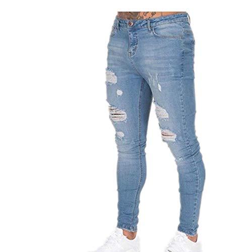 Hhckhxww Pantalon Slim Blanc pour Homme Jean DéChiré Tether Homme