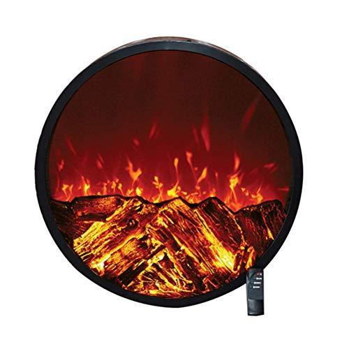 HEWEI Chimenea Redonda para Pared empotrada empotrada - Estufa calefactora eléctrica Ornamental con Llamas 3D con Troncos - Sensor Seguro - Control Remoto Inteligente - 1500W Negro