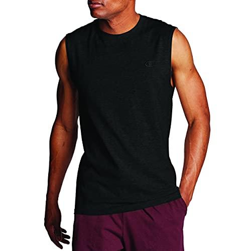 Champion Men's Classic Jersey Muscle T-Shirt, Black, L