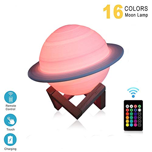 Houkiper Luz De Noche Para Niños, Luz De Impresión 3d 16 Colores Lámpara De Humor Remota Con Forma De Saturno, Grandes Regalos Para Niños