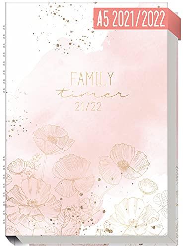 Family-Timer 2021/2022 A5 [Blush Flower] Der Familien-Kalender 18 Monate: Juli 21 bis Dezember 22   Familien-Planer für bis zu 4 Personen + viele hilfreiche Features   nachhaltig & klimaneutral