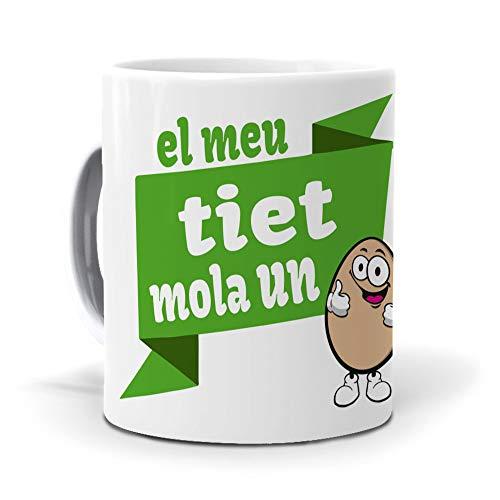 mundohuevo Taza Personalizada Regalo tio (en catalán) El MEU tiet Mola un ou. Cerámica AAA - 350 ml.