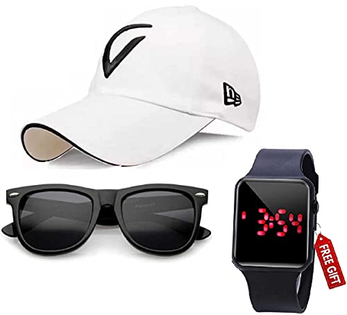 SELLORIA Brand Black Dial Digital White Baseball Embroidered Cap for Boys Mens,Kids
