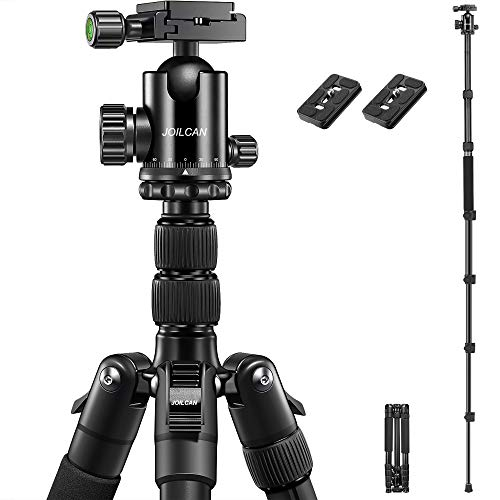JOILCAN 81'' Tripod, Aluminum Camera Tripod for DSLR, Compact Tripod Monopod 360° Panorama Ball Head with 2 Quick Release Plates, 16.5'' When Folded, 25 lbs Loads - Black