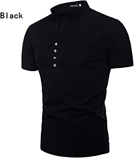 Qiyun Autumn Shirt Men Shirt Summer V Neck Short Sleeve Cotton Linen Solid Color Buttons Male Slim Casual Shirt