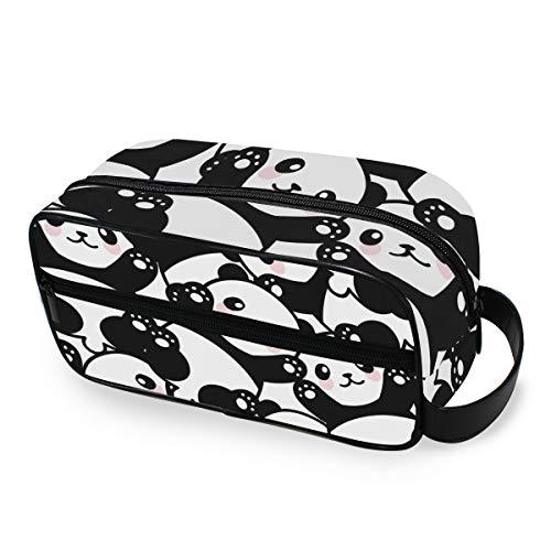 Voyage Maquillage Sac Heureux Mignon Panda Motif Outils Cosmétique Train Case Trousse De Toilette Pochette Organisateur De Stockage Portable