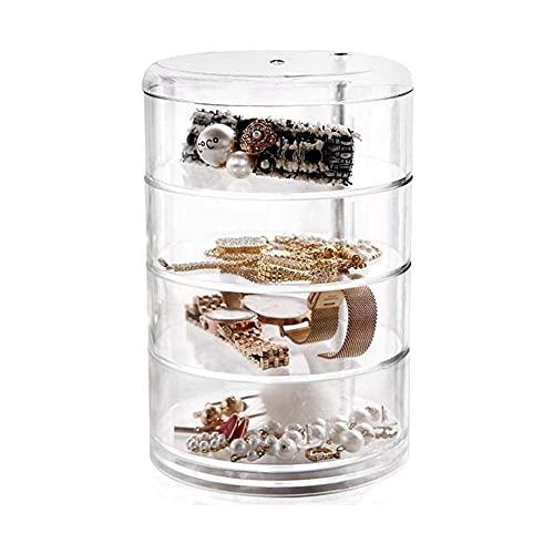 MUY Organizador de Maquillaje Grados Organizador de cosméticos Giratorio Cajones Caja de Almacenamiento de Joyas Soporte de exhibición de Perfume de acrílico de Cristal