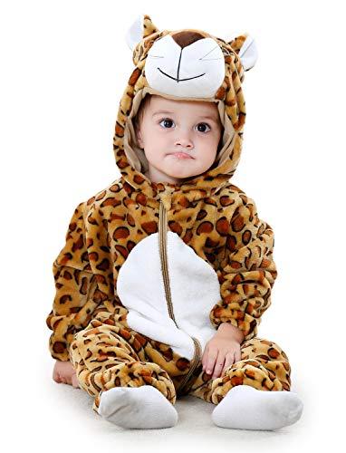 Adorel Pelele Buzo Pijama Manta con Capucha para Bebés Niño Leopardo 12-18 Meses (Tamaño del Fabricante 90)