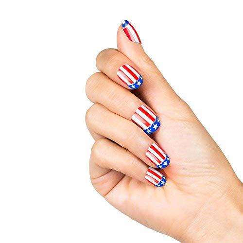 Boland 01503 - Fingernägel USA, 24 Stück mit Klebestreifen, Amerika, Flagge, United States, Vereinigte Staaten, Nägel, Motto Party, Karneval