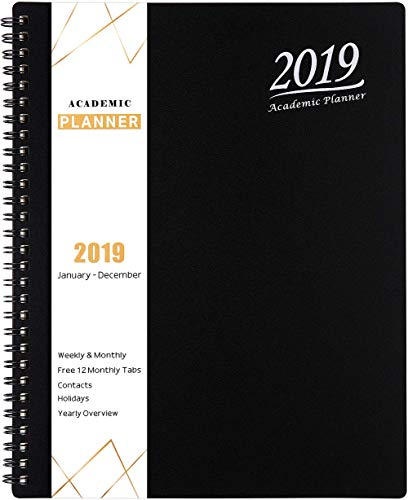 "2019 Weekly Planner with Tabs - Academic Weekly, Monthly and Yearly Planner, Flexible Cover with Julian Dates, Twin-Wire Binding, 8.25"" x 10"", Christmas Gift - Black"