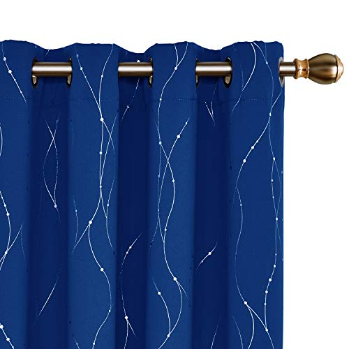 Deconovo Blackout Thermal Insulated Curtains Wave Line with Dots Foil Print Grommet Light Blocking Drapes for Kids Room 52 x 95 Inch Royal Blue 2 Panels