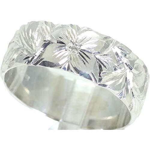 [京都ジュエリー工房] ハワイアンジュエリー 結婚指輪 マリッジリング ペアリング用 手作り ハワイアン リング 7mm幅 地金素材:K10 ホワイトゴールド 26-2987 誕生石:7月 ルビー 18号