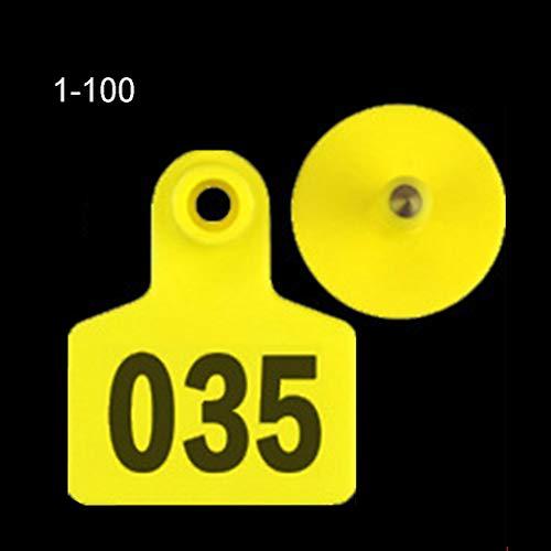 100 peças de etiquetas de orelha macias de TPU (poliuretano termoplástico), identificação de animais para cabras, ovelhas, bovos, porcos,