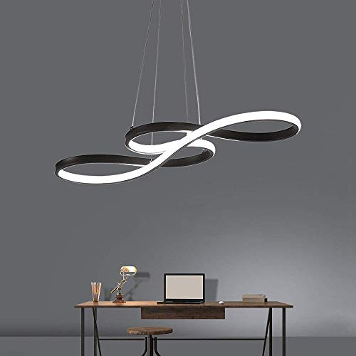 Tatosun Lámpara colgante LED regulable de estilo moderno, lámpara de mesa de comedor, lámpara de techo, 58 W, mando a distancia, altura regulable, acrílico, aluminio, blanco mate (negro)