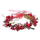 Amosfun Bohemia Flor Diadema Berry Rojo Cabello Corona Floral Guirnalda Corona Casco para la Fiesta de Bodas Vacaciones