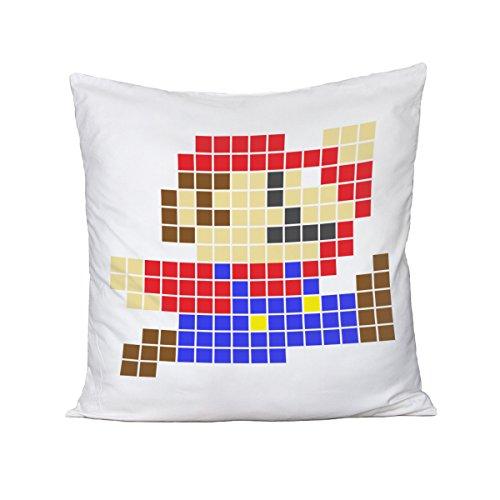 Cojín Pixel Mario–Videogame–Vintage–Old School–80'S–90' S–idea regalo–de Algodón, Bianco, Small