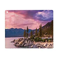 iPad 8 ケース 2020 iPad 10.2 ケース 第7世代 2019 湖、空のシュールな奇跡の雲と湖のそばの秘密の楽園の森アートプリント、ピンクグレー 軽量 傷防止 オートスリープ ウェイク スマートケース iPad 10.2インチ ハードカバー