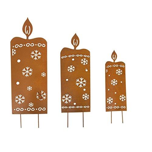 Pureday Weihnachtsdeko - LED Gartenstecker Kerzen - Beleuchtet - Rost - 3er Set