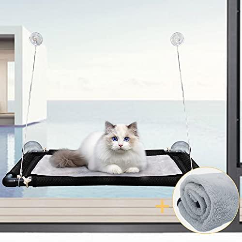 Hängematte Katze Fenster 1 Katzendecke,Fensterliege für Katzen Bis 23Kg,Katzenbett Fenster Große, Fensterschutz Katze Stabil Mit 4 Saugnäpfe,Fensterbank Katze für Katze in Innenräumen,Katzen Zubehör