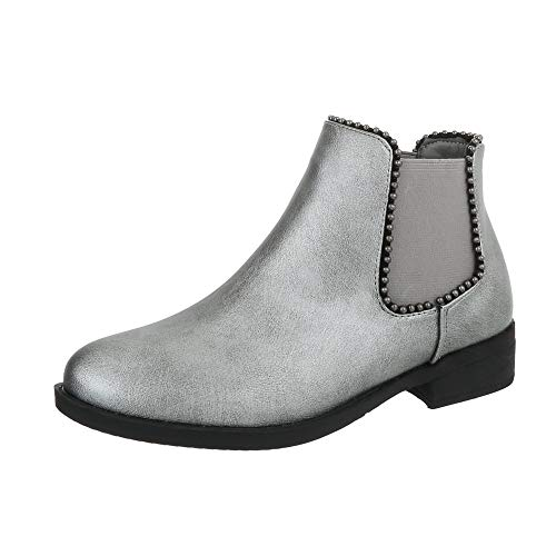 Ital-Design Damenschuhe Stiefeletten Chelsea Boots Synthetik Silber Gr. 40