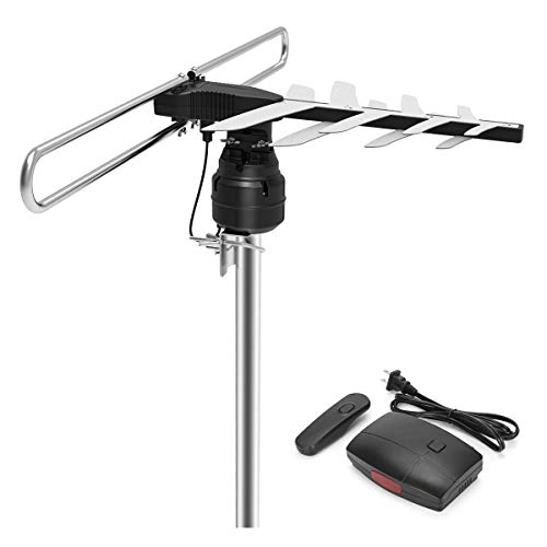 Outdoor HDTV TV Antenna, 1byone HD Antenna with 85-150 Miles Range, Range, Remote Control with 360 Degree Rotating, 49.2ft High Performance Coaxial Cable, UHF/VHF, Black